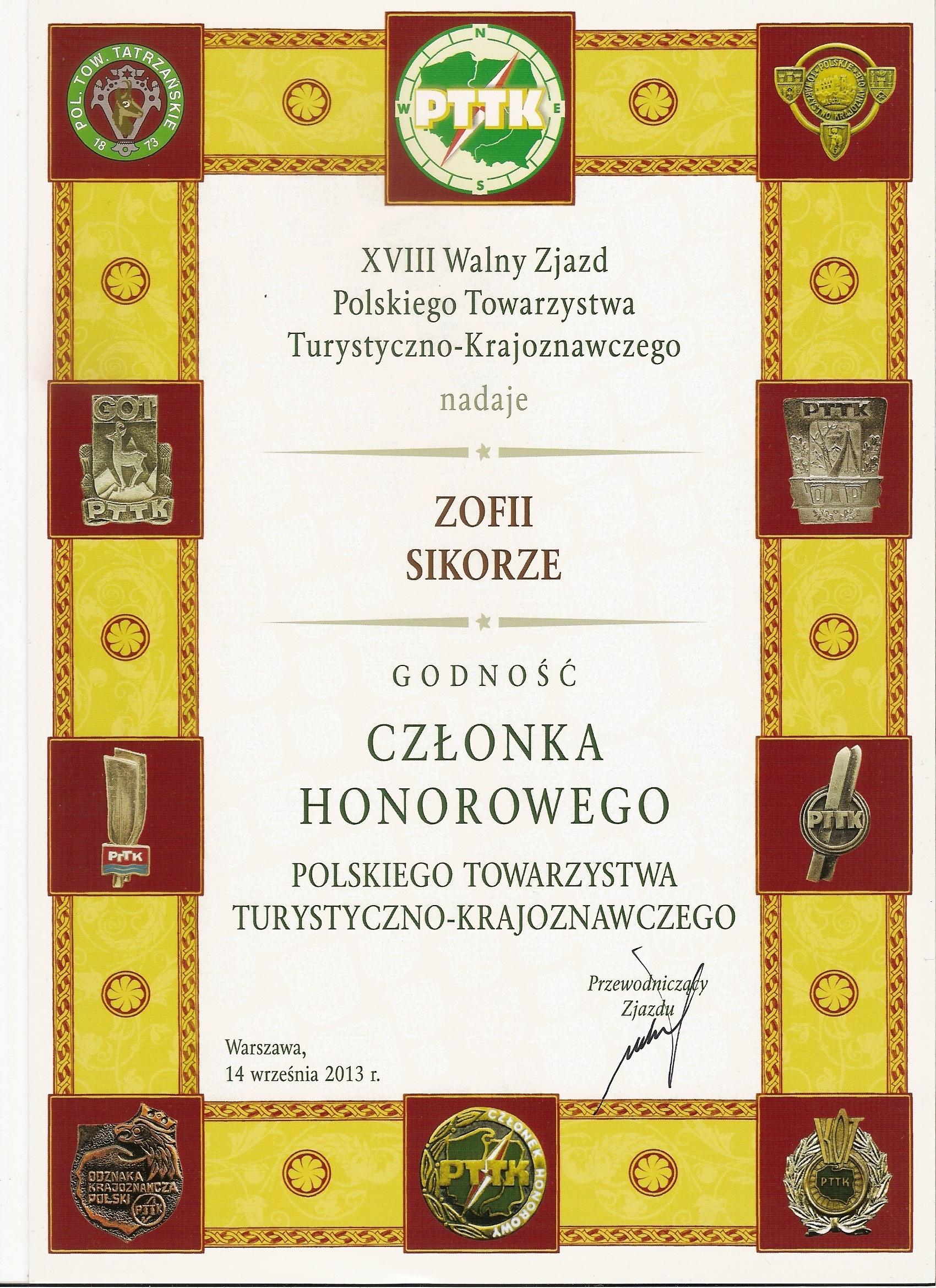 Zofia Sikora – Członek Honorowy PTTK
