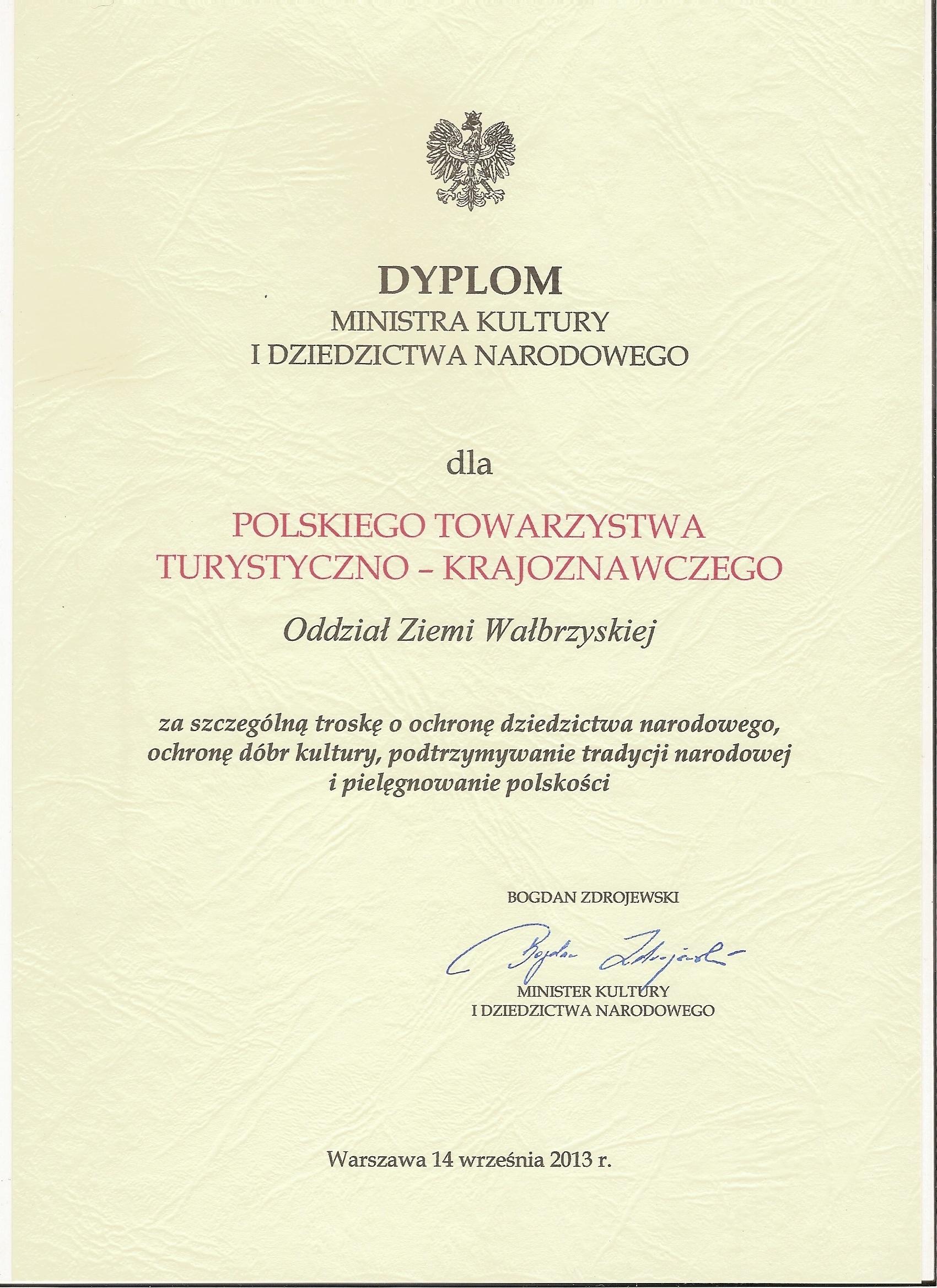 Dyplom Ministra Kultury i Dziedzictwa Narodowego