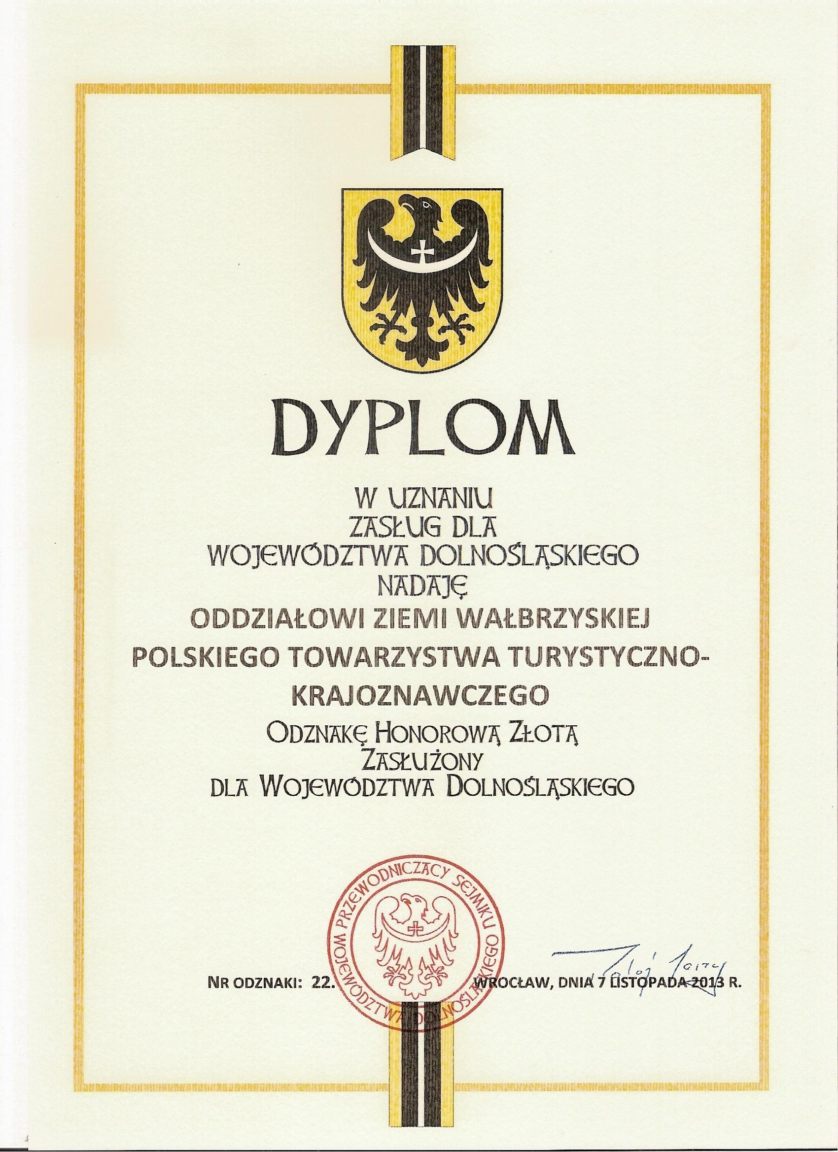 Dyplom dla Oddziału – Zasłużony dla Woj. Dolnośląskiego
