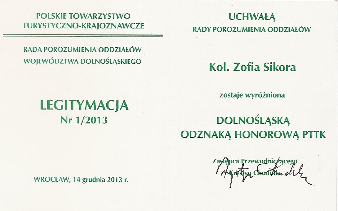 Zofia Sikora – Dolnośląska Odznaka Honorowa
