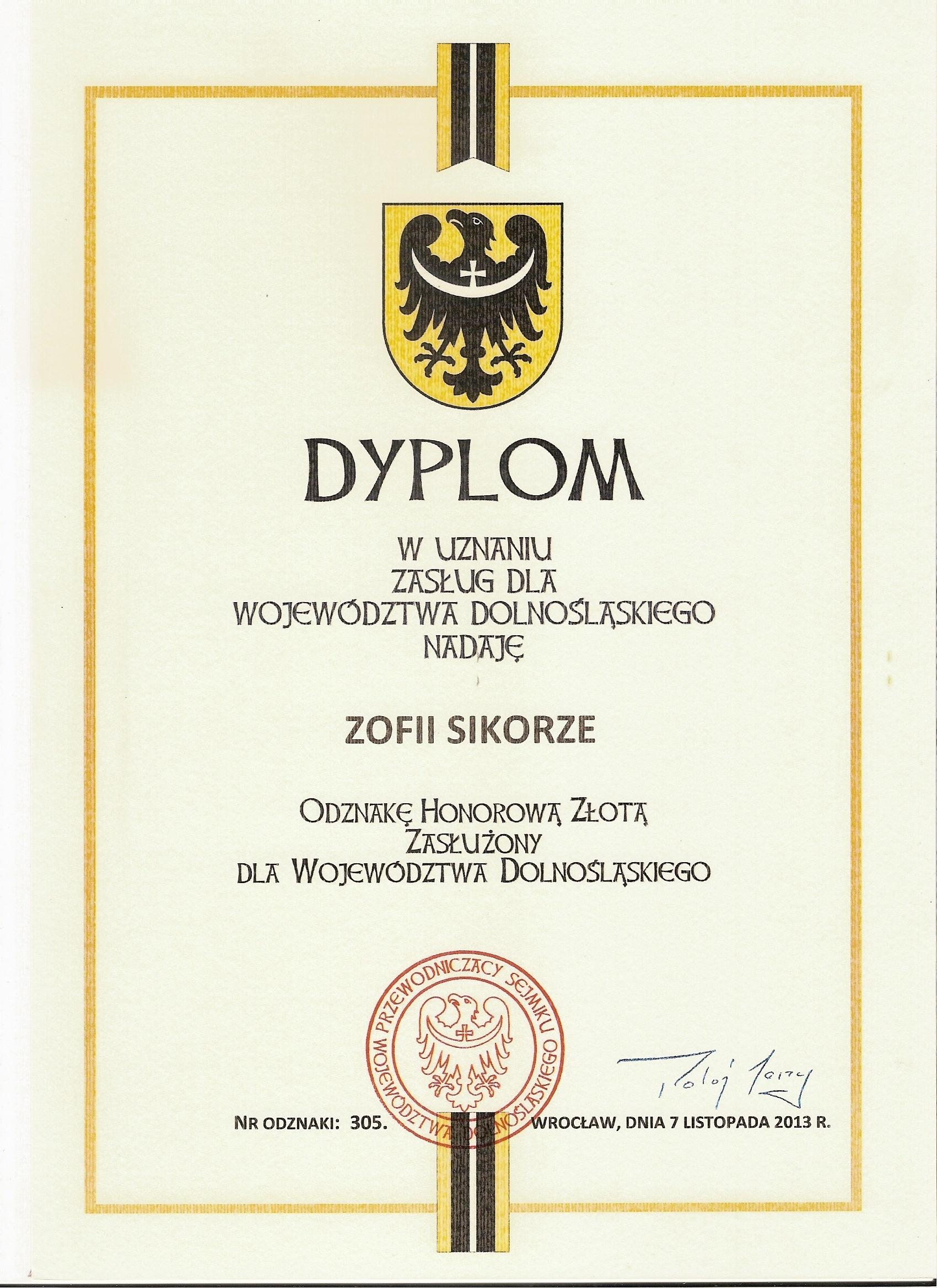 Dyplom dla Zofii Sikory – Zasłużony dla Woj. Dolnośląskiego