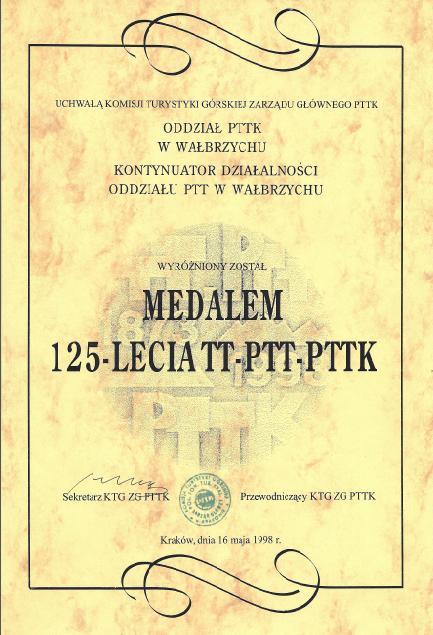Dyplom 125 lat PT PTT PTTK